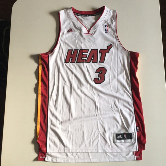0ae049487a0 adidas Shirts | Dwayne Wade Miami Heat Nba White Jersey 3 | Poshmark